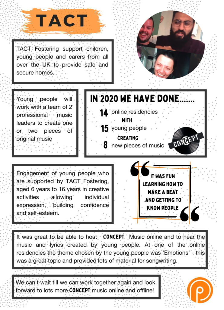 Concept TACT case study infographic.White background with grey dots. Circle photos of 3 tutors online smiling. TACT Fosterning support children, young people and carers from all over the UK to provide safe & secure homes. Young people will work with a team of 2 professional music leaders to create one or two pieces of original music. In 2020 we have done: 14 online residencies with 15 young people creating 8 new pieces of music. Image Concept logo - Black vinyl record with concept written in white across the middle. Text: Engagement of young people who are supported by TACT Fostering, aged 6 years to 16 years in creative activities allowing individual expression, building confidence and self-esteem. QUOTE: