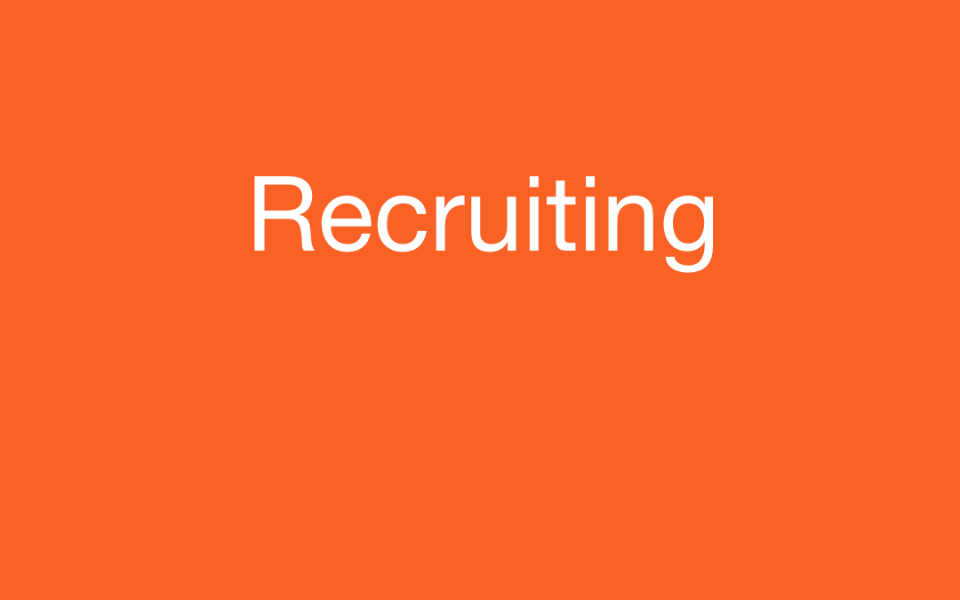 Text: Recruiting with pedestrian logo all in white. Orange square.