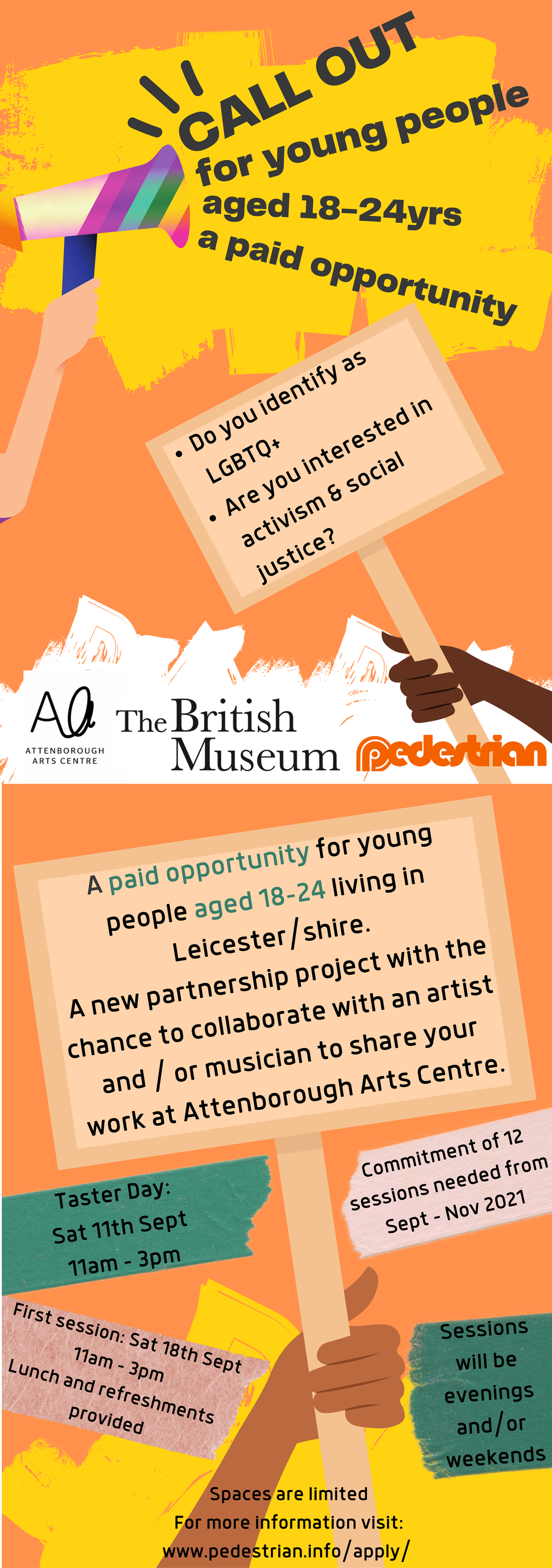 Where we are partnership project with The British Museum & Attenborough Arts flyer. Call out for young people who identify as LGBTQ+.